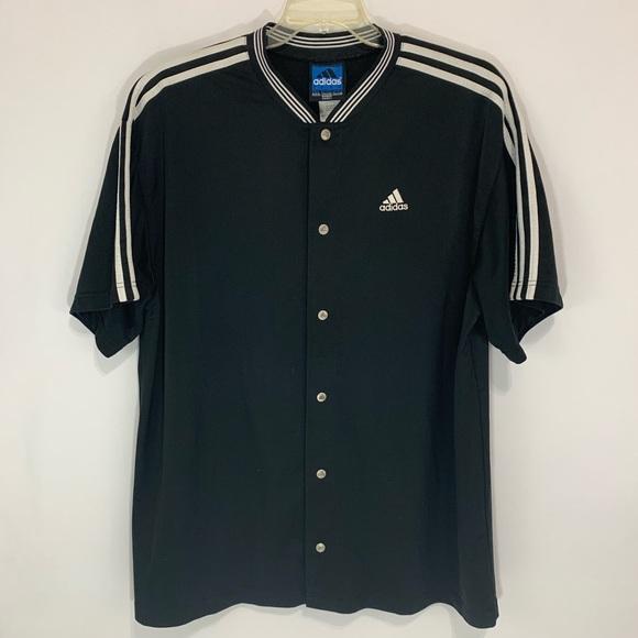Vintage Adidas snap button warm up jersey 3 stripe